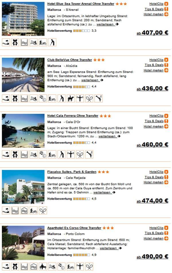 Last-minute Reisen ab Flughafen Saarbrücken 2 Wochen im 3 Sterne Hotel Mallorca All-inclusive 407.- Euro