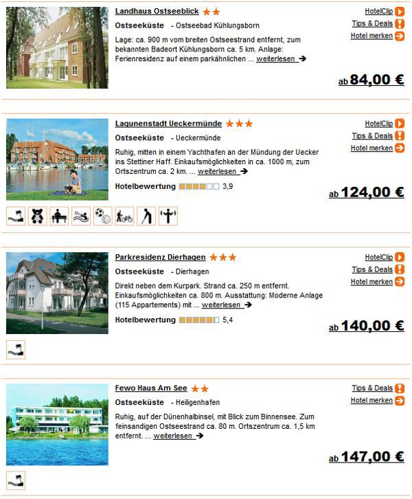 Ostsee Urlaub 1 Woche in 2 - 3-Sterne Unterkunft ab 84.- Euro