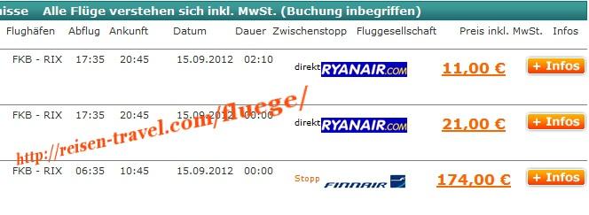 Screenshot Preisvergleich Billigflüge Deutschland Lettland ab 11,00 € Deutschland August September Oktober November Dezember Billigflug Riga