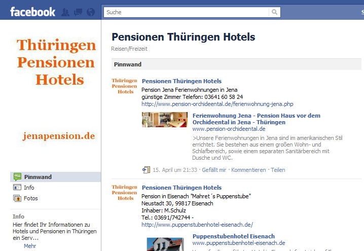 Pensionen in Thüringen Soziales Netzwerk Hotels in Jena Weimar Erfurt Oberhof Thüringer Wald Rennsteig Eisenach Gotha Sömmerda Kyffhäuser