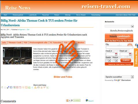 Preisvergleich Ägypten Tunesien Reiseveranstalter Thomas Cook TUI Reisen Urlaub besten Reisepreis für 3 - 5 Sterne Hotels